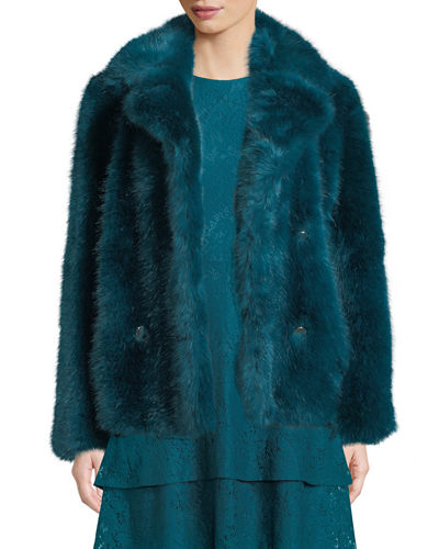 Faux-Fur Pea Coat