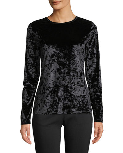 Crewneck Long-Sleeve Crushed Velvet Top