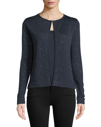 Open-Front Sequin Cashmere Cardigan