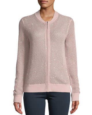 Neiman Marcus Cashmere Collection Cashmere Zip-Front Sequin