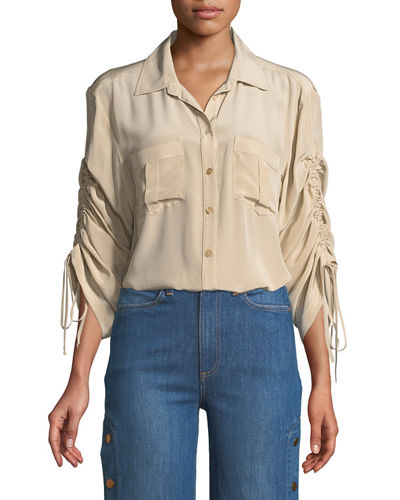 Beach Boy Ruched-Sleeve Silk Top