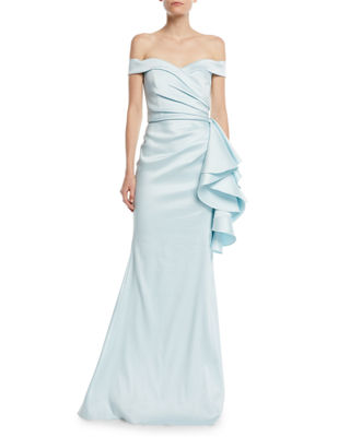 Badgley Mischka Collection Off-the-Shoulder Gown w/ Side Ruffles
