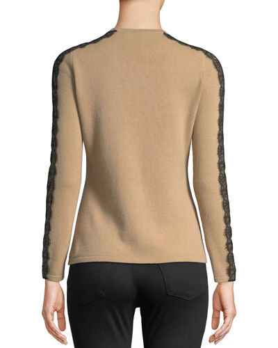Crewneck Cashmere Sweater with Lace Trim
