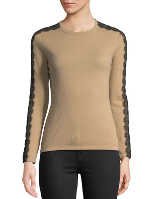 Neiman Marcus Cashmere Collection Crewneck Cashmere Sweater with