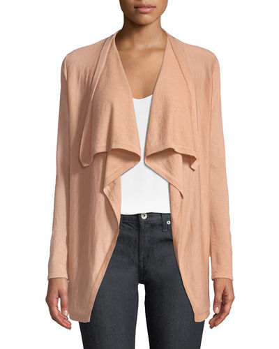 Superfine Cashmere Drape-Collar Cardigan