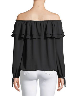 Image 2 of 2: Ruffled Off-the-Shoulder Peasant Blouse