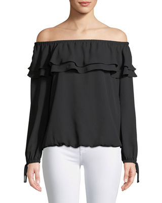 Image 1 of 2: Ruffled Off-the-Shoulder Peasant Blouse