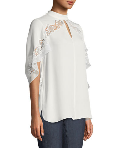 Jaylah Lace-Trim Choker-Neck Silk Blouse