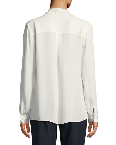 Jurnee Draped Silk Blouse