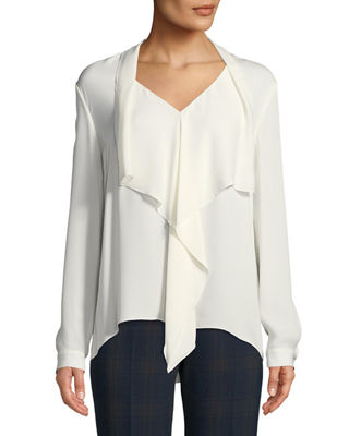 Elie Tahari Jurnee Draped Silk Blouse and Matching
