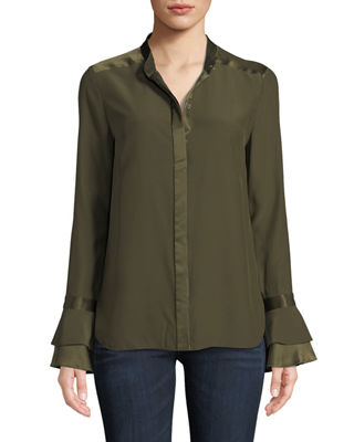 Elie Tahari Safiya Silk Button-Front Blouse and Matching