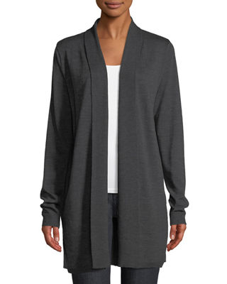 Adele Shawl-Collar Merino & Silk Cardigan Sweater in Charcoal Melange