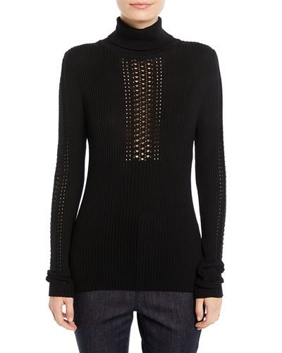 Maelee Turtleneck Ribbed Sweater w/ Studs
