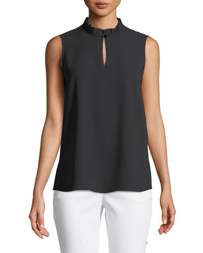 Misook Pleated-Collar Sleeveless Blouse