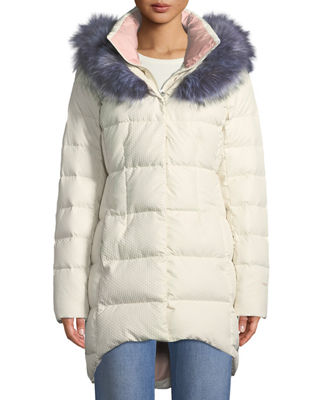 Hey Mama Parka Puffer Coat W/ Removable Faux-Fur Trim, White