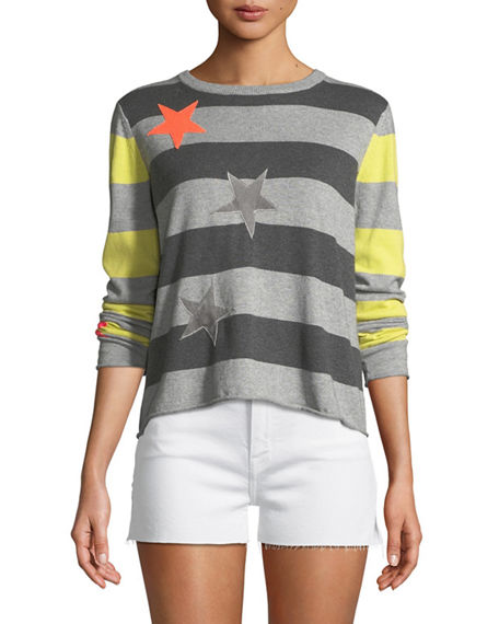 Lisa Todd LUCKY STAR STRIPED COTTON/CASHMERE SWEATER, PLUS SIZE