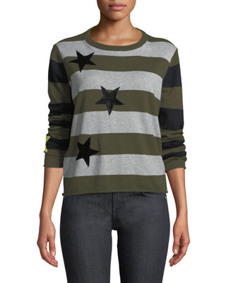 Lisa Todd Lucky Star Striped Cotton/Cashmere Sweater, Plus