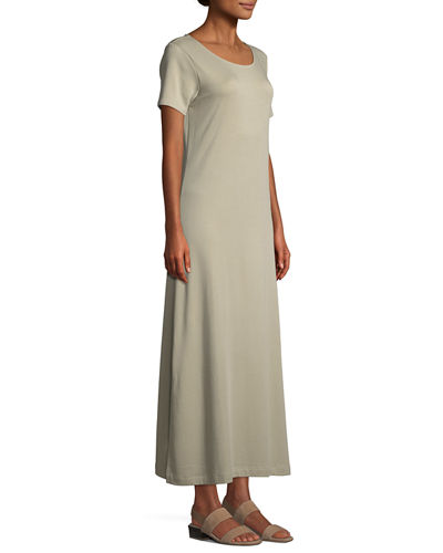 Short-Sleeve A-line Long Dress, Petite