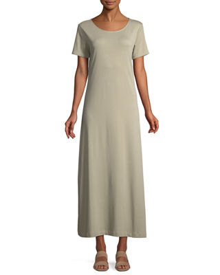 Joan Vass Short-Sleeve A-line Long Dress, Plus Size