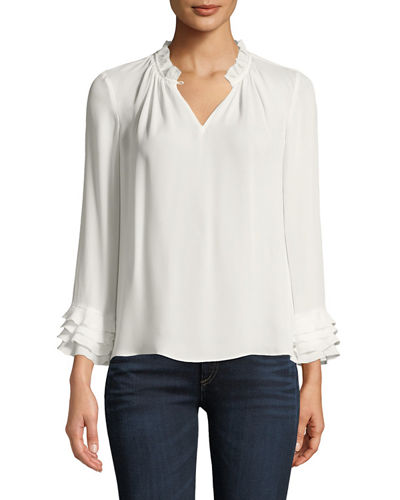 V-Neck Long-Sleeve Silk Georgette Blouse w/ Ruffled Trim