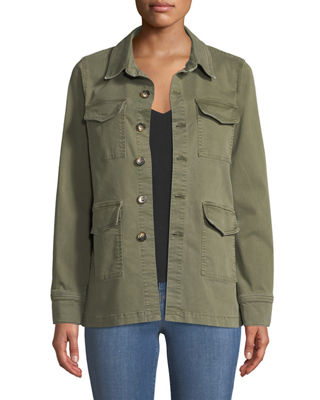 L'Agence Victoria Button-Front Utility Jacket