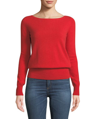 67abe5ecf2 Neiman Marcus Cashmere Collection Long-Sleeve Cashmere Boat-Neck Sweater