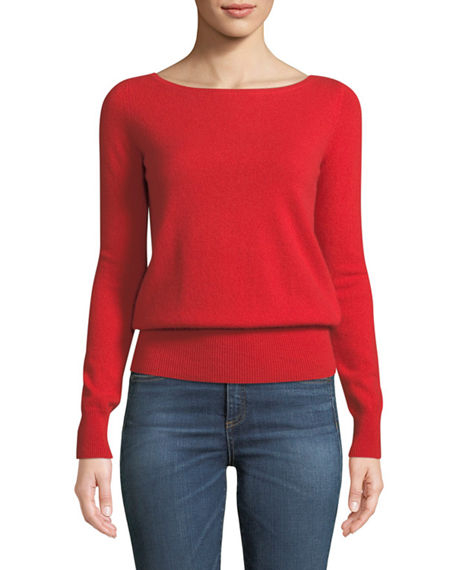 Neiman Marcus Cashmere Collection Cashmere Boatneck: Neiman Marcus Cashmere Collection Long-Sleeve Cashmere
