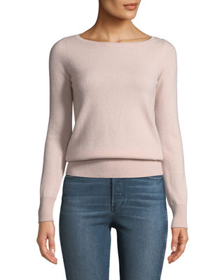 Neiman Marcus Cashmere Collection Long-Sleeve Cashmere Boat-Neck