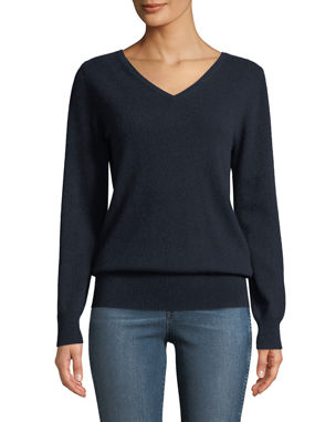cb65753b9614f Neiman Marcus Cashmere Collection Cashmere Relaxed V-Neck Sweater