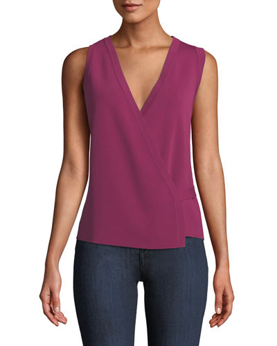 Sleeveless Lustrate Crepe Wrap Top