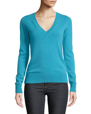 Neiman Marcus Cashmere Collection Cashmere V-Neck Sweater, Plus