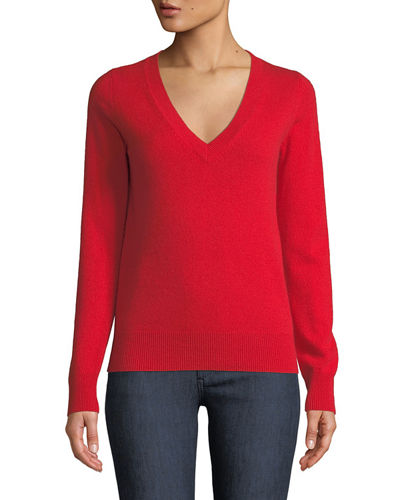 Cashmere V-Neck Sweater, Plus Size