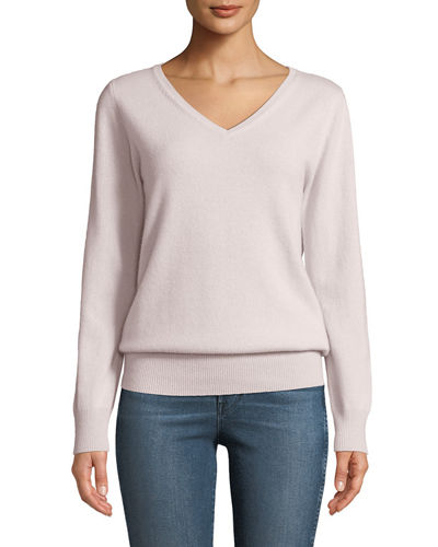 Cashmere Relaxed V-Neck Sweater, Plus Size