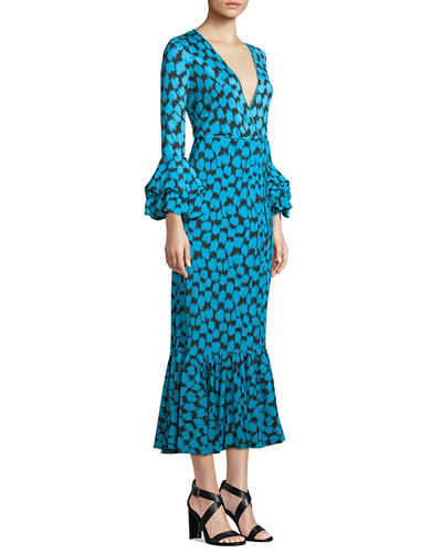 Printed Ruffle-Sleeve Silk Wrap Dress