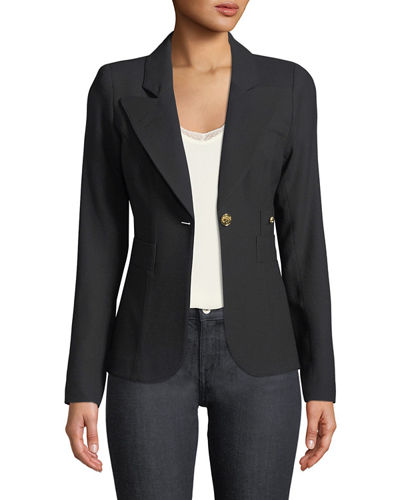 Duchess Single-Button Linen Blazer