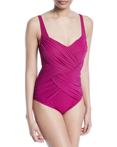Lattice Ruched One-Piece Swimsuit