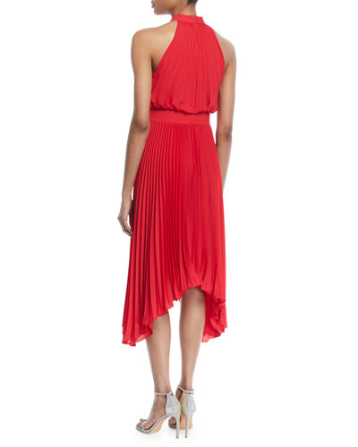 Pleated Halter Cocktail Dress w/ Banded Waist