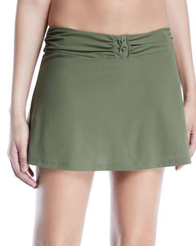 Moto Shirred Swim Skirt
