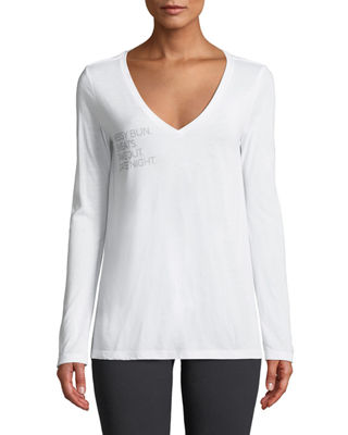 FOR BETTER NOT WORSE Messy Bun Date Night Long-Sleeve V-Neck Tee in White