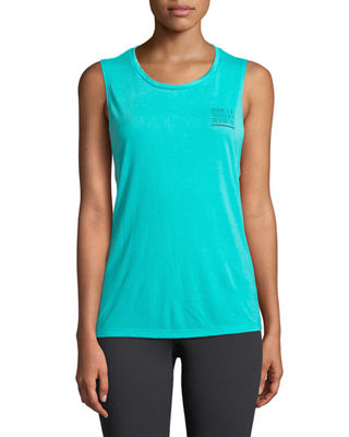 FOR BETTER NOT WORSE Venice Graphic Muscle Tank in Teal