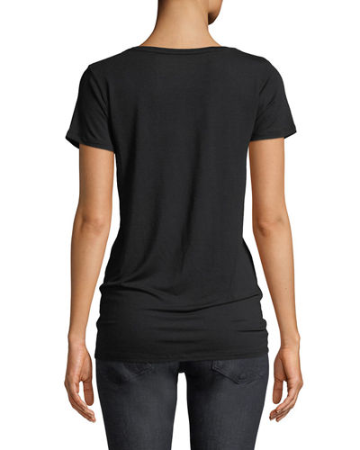 Flat-Edge Soft Touch Short-Sleeve V-Neck T-Shirt