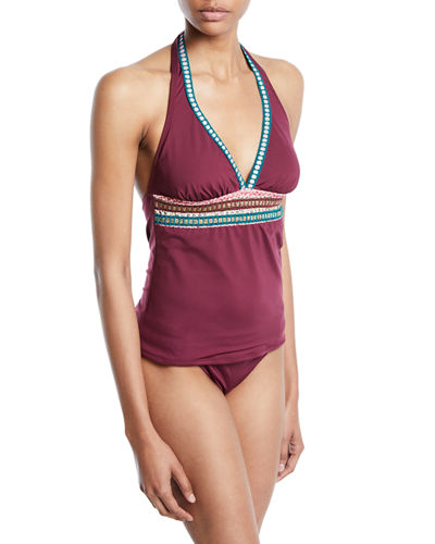 La Blanca Running Stitch Halter Tankini Swim Top