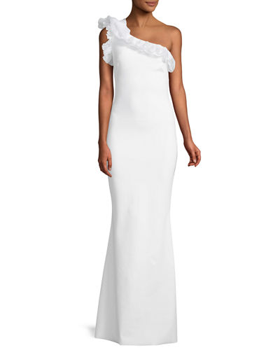 Elisir One-Shoulder Gown w/ Organza Ruffle