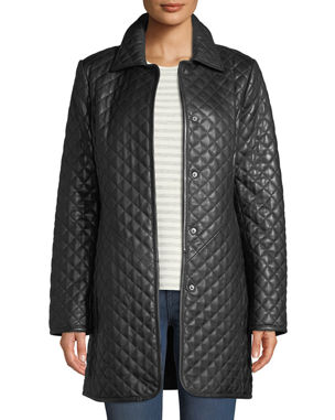 a6a6f01263125 Neiman Marcus Leather Collection Plus Size Quilted Lamb Leather Trench Coat