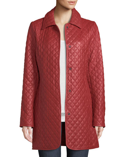 Plus Size Quilted Lamb Leather Trench Coat