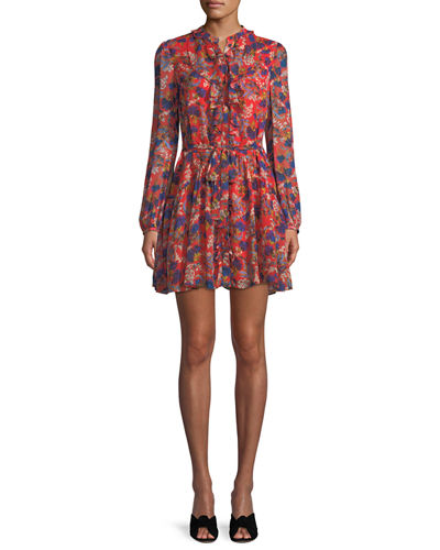 Tilly Long-Sleeve Floral Silk Mini Dress