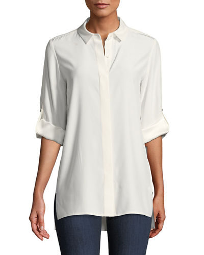 Jeslyn Matte Silk Blouse, Plus Size