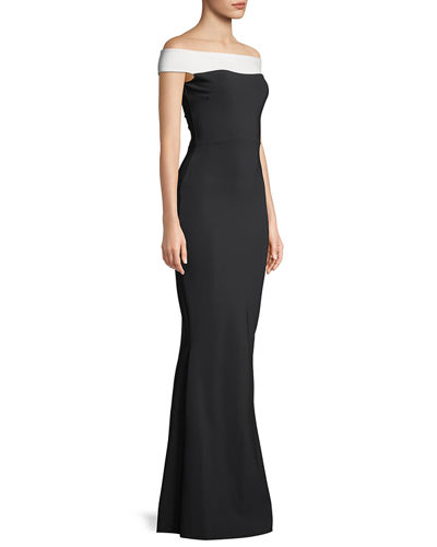 Lustinette Colorblock Off-the-Shoulder Gown