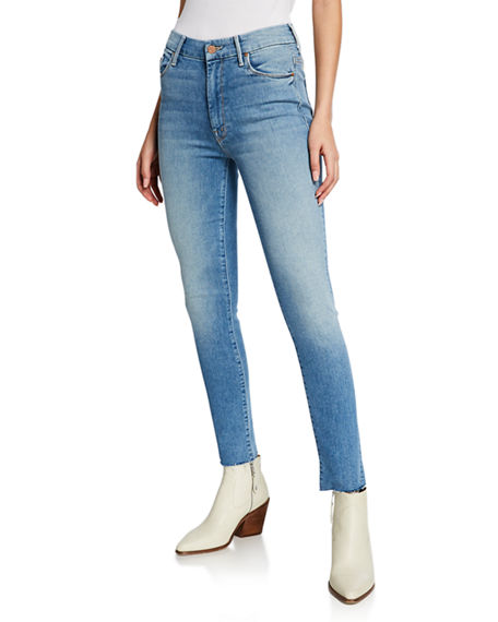 Mother Jeans LOOKER HIGH-WAIST FRAYED ANKLE SKINNY JEANS