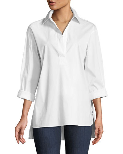 Beckett Italian Stretch-Cotton Blouse, Plus Size
